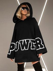 Толстовка для женщин Черный Длинные рукава Письма Печать Хлопок Смешать с капюшоном