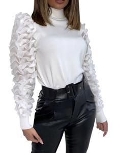 Mulheres camisola branca mangas folhadas tops gola alta