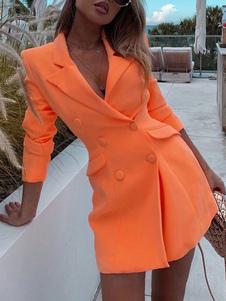 Пиджак для женщин шикарный отложной воротник пуговицы с длинными рукавами полиэстер оранжевое пальто