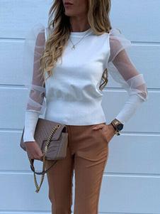 T-shirt da donna in tulle con collo gioiello bianco a maniche lunghe