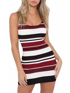 Vestido de malha para as mulheres Tiras bonitas Stripes Neck Mistura de algodão sem mangas Vestido de malha