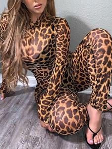 Комбинезон с леопардовым принтом и длинными рукавами