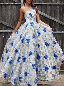 فساتين ماكسي أكمام الأزرق الأزهار طباعة باتو الرقبة الدانتيل الشيفون الطابق طول اللباس