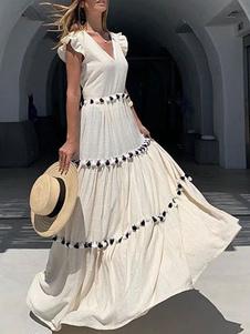 Vestidos largos Sin mangas Crudo Cuello en V Blanco Fringe Vestido de lino hasta el suelo