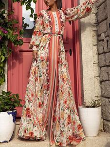 Vestidos largos Mangas largas Vestido largo de gasa con cuello joya estampado rojo