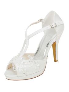 Scarpe da sposa con plateau Sandali con cinturino a T Scarpe da sposa con tacco a spillo e punta aperta