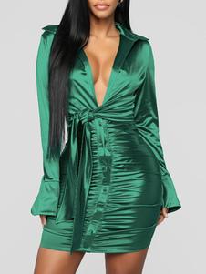 Abito da club per donna Abito sexy in poliestere a pieghe maniche lunghe con colletto rovesciato verde