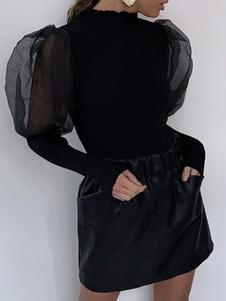 Блузка для женщин Black Jewel Neck Classic с длинными рукавами, топы