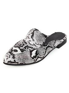 女性のフラットミュールスネークプリントプラスサイズの靴