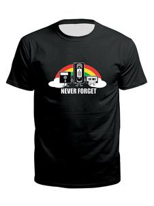 Camisetas masculinas pretas com gola curta