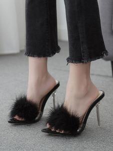 Mulheres Transparentes Mulas Salto agulha Preto com pêlo