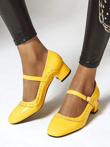 Tacchi bassi per donna. Scarpe vintage Mary Jane. Scarpe quadrate con punta gialla