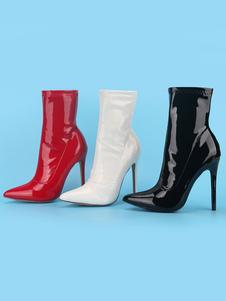 Verniciata delle donne Stivaletti Bianco Scarpe a punta tacco alto sexy Calzari