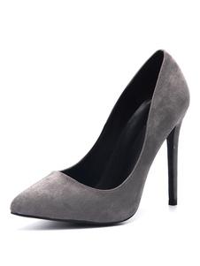 Grigio delle donne delle pompe a punta tacco alto calza il formato più