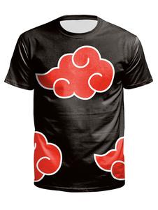 Camisetas de hombre Top informal de manga corta estampada con cuello joya negro