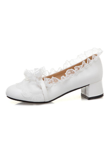 Bombas de Lolita doce rendas sapatos de Lolita de salto robusto de couro PU