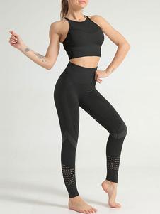 Conjuntos de dos piezas Correas de nylon negras Cuello cortado Traje de mujer sin mangas atlético