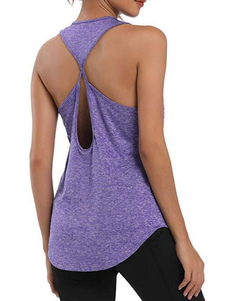 Playeras sin mangas Cian Azul Backless Recortable U-Neck Poliéster Mujer Camiseta