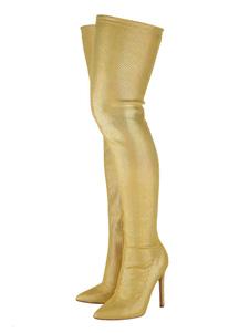 """فوق الركبة أحذية بو الجلود أشقر أشار تو زيبر التفاصيل 4.5 """"أحذية عالية الفخذ"""