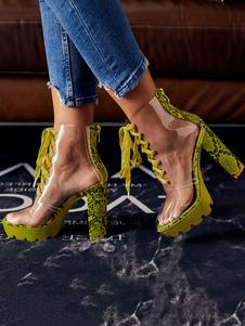 Botas Perspex Saltos Transparentes Lace Up Chunky Heel Round Toe Booties Para Mulheres