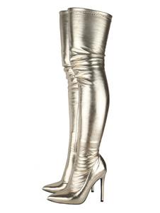 Stivali coscia Donna Punta a punta Zip Dettaglio tacco alto sopra gli stivali al ginocchio