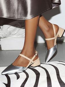 Tacchi Toe Pinted Donne Silver Plus Size cinturino alla caviglia Pumps