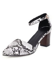 Tacchi media a punta le dita dei piedi tacco D\'Orsay Snake Stampa pompe Plus Size Shoes