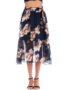 Falda para mujer azul marino estampado gasa otoño e invierno mujer inferior