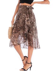 Falda de mujer Café Marrón Estampado de leopardo Gasa Otoño e invierno Pantalones de mujer
