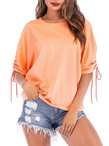 Camisetas de manga corta Camiseta de mujer de mezcla de algodón con cuello joya de oro rosa