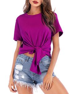 Футболка с короткими рукавами Рубиновая завязанная шею из хлопка Женская футболка