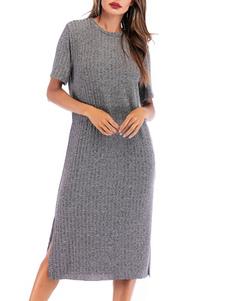 فساتين التحول رمادية ساحرة جوهرة الرقبة القطن مزيج المرأة تونك اللباس