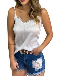Cami Top White Straps Neck Lace Poliéster Casual Women Camis
