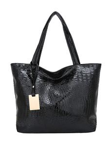 Женская большая сумка из искусственной кожи с крокодиловым принтом черного цвета