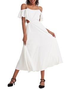 Vestido de verano Tirantes Cuello dividido Frente irregular Vestido largo blanco de playa