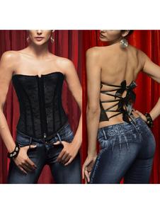 Bustiers Corsés Corsé de lencería para mujer Corsé de encaje con estampado floral de encaje sexy negro