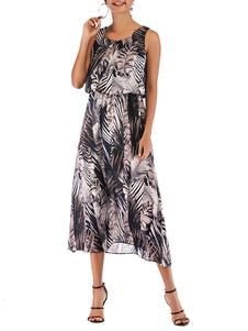Boho Vestido Jewel Neck mangas Impresso Beach Dress