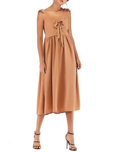 Vestido de verão Blush Pink Straps Neck Atado Cotton Blend Beach Dress