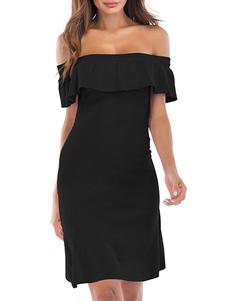 Vestido de verano Vestido de playa de mezcla de algodón con cuello bateau negro
