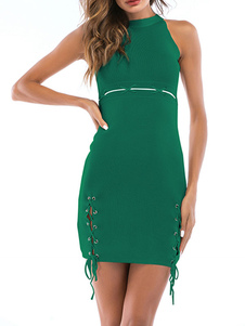 Bodycon Vestidos Jóia Verde Pescoço Vestido Sem Mangas Casual
