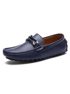 Gli uomini del fannullone scarpe di vacchetta punta rotonda Slip On scarpe da guida