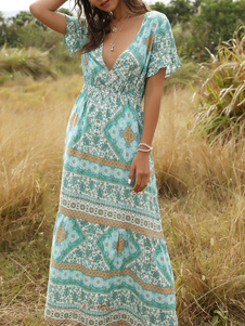 Boho Summer Dress V Neck Short Sleeves Beach Dress
