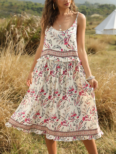 boho vestito Jewel Neck senza maniche stampa floreale Backless Beach Dress
