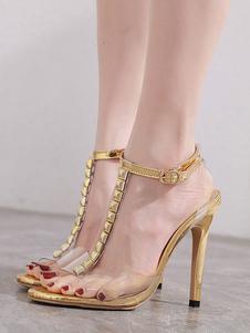 T-bar Sandálias transparentes Salto agulha Perspex Peep Toe Prata Sapatos de salto alto Sapatos femininos