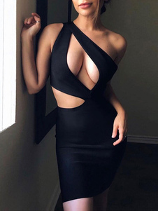 نادي اللباس كتف واحد مثير قص خارج أكمام البوليستر عارية الذراعين فستان أسود مثير