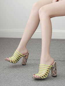 Sapatos de salto alto Mules Mulheres Open Toe Strappy Chunky Heel Mule Shoes