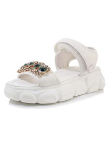 Sandalias planas para mujer Zapatos de talla grande con punta abierta y playa cómoda embellecidos