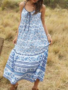 Vestido Boho Correas ajustables Cuello en V Sin mangas Estampado floral Vestido de verano con cordones