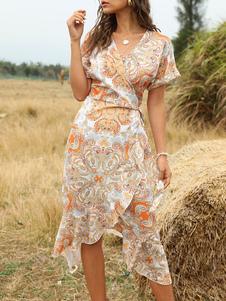 Vestido Boho V Neck mangas curtas Floral Print Lace Up vestido de verão