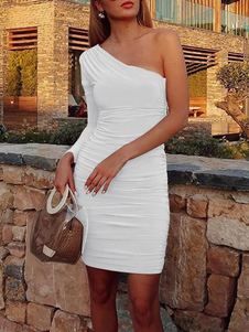 Abito sexy bianco asimmetrico in poliestere a maniche lunghe a pieghe monospalla sexy club